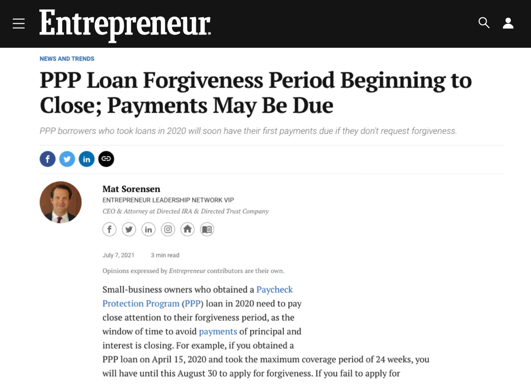 PPP Loan Forgiveness Period Beginning to Close; Payments May Be Due